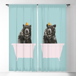 Big Bear in Bathtub Blackout Curtain