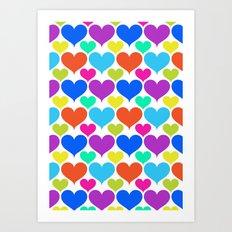 Bright hearts Art Print