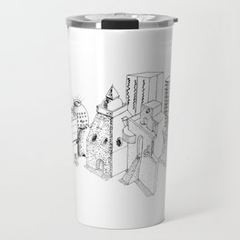 cubes and balls in the city . Art Travel Mug