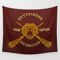quidditch Wall Tapestries featuring Gryffindor quidditch team iPhone 4 4s 5 5c, ipod, ipad, pillow case, tshirt and mugs by Three Second