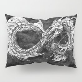 Ouroboros mythical snake on black cloudy background   Pencil Art, Black and White Pillow Sham