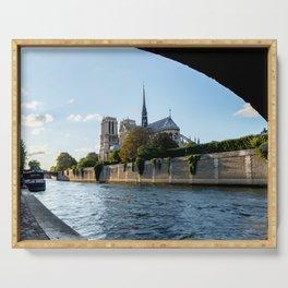 Notre Dame de Paris from under the Pont de l'Archeveche - Paris Serving Tray