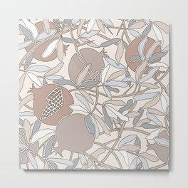 Pale Winter Hues Pomegranate Fruit Branches with Leaves Metal Print