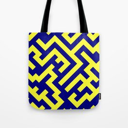 Electric Yellow and Navy Blue Diagonal Labyrinth Tote Bag