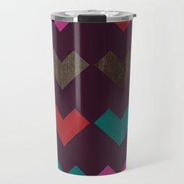 leather geometric love on dark purple Travel Mug