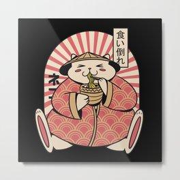 Fat cat eating ramen noodles japanese clothing Metal Print