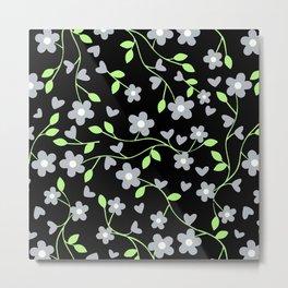 Agender Pride Simple Flowers and Vines Pattern Metal Print