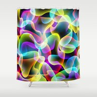psychadelic Shower Curtains featuring colorful swirls by Ancello