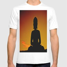 In Buddha's Shadow MEDIUM White Mens Fitted Tee
