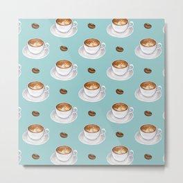 Coffee Cups - mint blue Metal Print