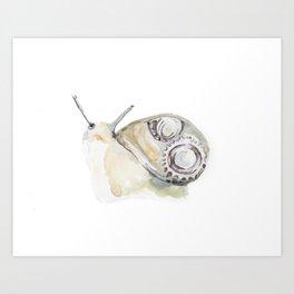 Cute Steampunk Snail Watercolor Art Print