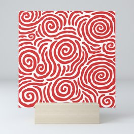 Ripple Effect Pattern Red Mini Art Print