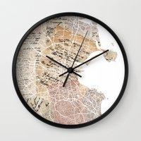 dublin Wall Clocks featuring Dublin map by Mapsland