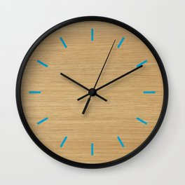 wood with blue Wall Clock