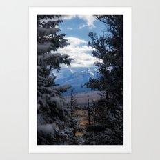 The Mountains through the Trees Art Print