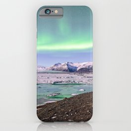 Iceland Northern Lights Jokulsarlon Ice Lagoon Aurora Borealis Night Landscape iPhone Case