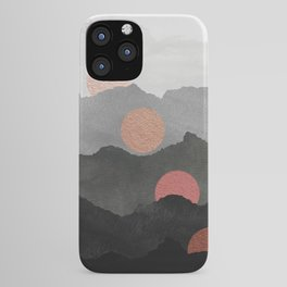 Mountains and the Moon - Black - Silver - Copper - Gold - Rose Gold iPhone Case