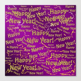 purple Happy new year text in gold, beautiful reindeer, green fir trees, bright stars festive Canvas Print