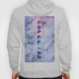 Moon Phases on Cloudy Blue Magic Sky #moontravel #decor #collage Hoody