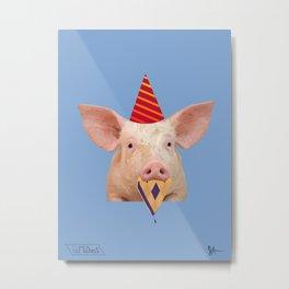 Party Hat Pig Metal Print