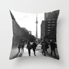 The CN Tower Toronto city streets downtown Throw Pillow
