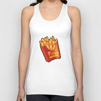 french fries Tank Tops featuring Pixel Fries by TheSkywaker