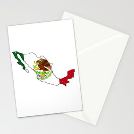 Mexico Map with Mexican Flag Stationery Cards
