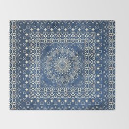 Old Bookshop Magic Mandala in Blue Throw Blanket