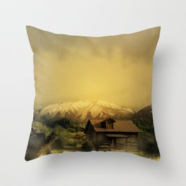 House in forest Throw Pillow