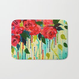 ROSE RAGE Stunning Summer Floral Abstract Flower Bouquet Feminine Pink Turquoise Lime Nature Art Bath Mat