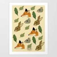 woodland Art Prints featuring woodland by Melrose Illustrations
