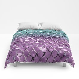 Mermaid Scales on Aqua Purple MERMAID Girls Glitter #2 #shiny #decor #art #society6 Comforters