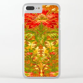 French Nouveau Red-Green Floral Caramel Color Designs Clear iPhone Case