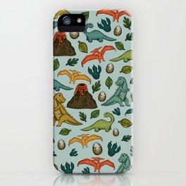 Dinosaur Print, Dino, Jurassic, Jurassic Art, Fossils, Volcanos, T-Rex, Light Blue iPhone Case