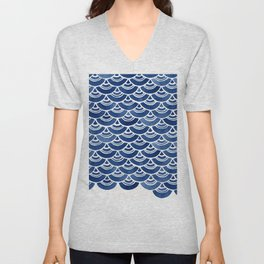 Blue and White Overlapping Fish Scale Watercolor Pattern Unisex V-Neck