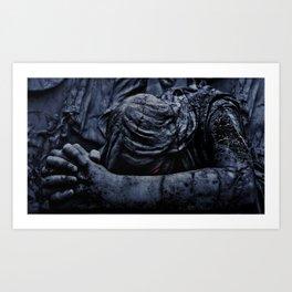 Statue of an Dark Angel Praying Close Up Art Print