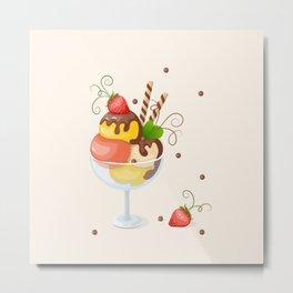 strawberry ice cream Metal Print