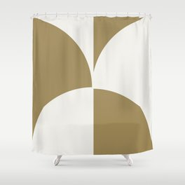 Diamond Series Round Checkers White on Gold Shower Curtain