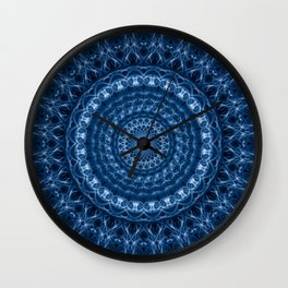 Detailed mandala in dark and light blue tones Wall Clock