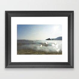 Clear Blue sea at Porthcurno, Cornwall Framed Art Print