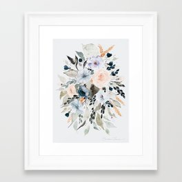 Loose Blue and Peach Floral Watercolor Bouquet  Framed Art Print