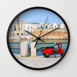 Red Vespa in Monopoli, Puglia, Italy Wall Clock