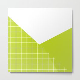 Geometric collage grid pattern in lime Metal Print