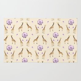Giraffes And Flowers Rug