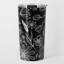 Floral Pattern II Black and White Travel Mug