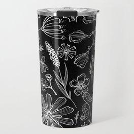 Floral Pattern II Black and White Travel Mug