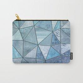 Blue Aqua Glamour Shiny Precious Patchwork Carry-All Pouch