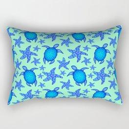 Beautiful blue swimming ocean turtles and starfish seamless lovely marine light teal green pattern. Rectangular Pillow