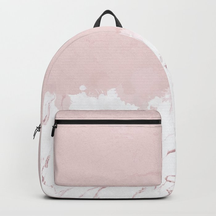 Marble spill on pink concrete Backpack