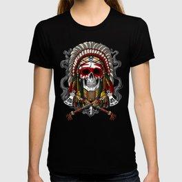Native American Skull Indian Chief Headdress T-shirt